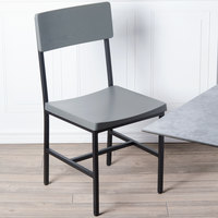BFM Seating JS33CGRA-SB Memphis Sand Black Steel Side Chair with Gray Ash Wooden Back and Seat