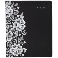 At-A-Glance 541905 Lacey 9 1/4 inch x 11 3/8 inch Black/White January 2021 - January 2022 Professional Weekly / Monthly Appointment Book