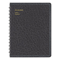 At-A-Glance 8058005 8 1/2 inch x 11 inch Black Simulated Leather Visitor Register Book