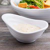 Elite Global Solutions DS45-W Swirl 4 oz. White Oblong Melamine Sauce Dish - 6/Case