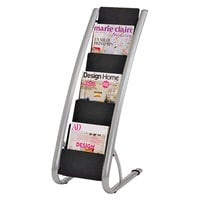 Alba DDEXPO6 Silver and Black 6-Pocket Display Rack - 13 3/8 inch x 19 5/8 inch x 36 3/8 inch