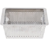 8 1/2 inch x 8 1/2 inch x 3 inch Flanged Stainless Steel Floor Drain Strainer with 1/8 inch Perforations