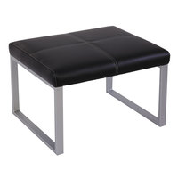 Alera ALERL8319CSM Ispara Series Black / Silver Leather Cube Ottoman