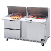 Beverage-Air SPED60HC-18M-2 60 inch 1 Door 2 Drawer Mega Top Refrigerated Sandwich Prep Table