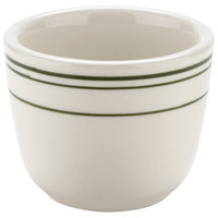 Tuxton TGB-045 Green Bay / 4.5 oz. Green Band China Chinese / Asian Sake Tea Cup - 36/Case