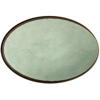 Elite Global Solutions D8512OVM Mojave Vintage California 12 1/2 inch x 8 1/2 inch Hemlock Oval Crackle Plate - 6/Case