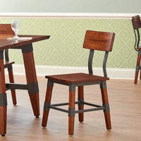 Lancaster Table & Seating Rustic Industrial Dining Side Chair with Antique Walnut Finish