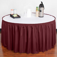 Snap Drape 5412EG29S3-046 Wyndham 17' 6 inch x 29 inch Burgundy Shirred Pleat Table Skirt with Velcro® Clips