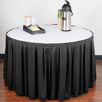 Snap Drape 5412CE29B3-01414 Wyndham 13' x 29 inch Black Box Pleat Table Skirt with Velcro® Clips