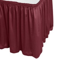 Snap Drape 5412CE29S3-046 Wyndham 13' x 29 inch Burgundy Shirred Pleat Table Skirt with Velcro® Clips