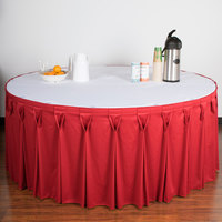 Snap Drape 5412GC29W3-0011 Wyndham 21' 6 inch x 29 inch Red Bow Tie Pleat Table Skirt with Velcro® Clips