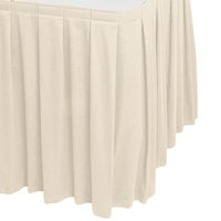 Snap Drape 5412GC29B3-756 Wyndham 21' 6 inch x 29 inch Bone Box Pleat Table Skirt with Velcro® Clips