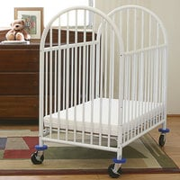 L.A. Baby 24 inch x 38 inch White Deluxe Arched Mini-Crib with 3 inch Mattress