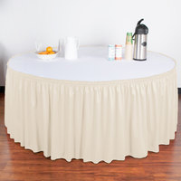 Snap Drape 5412GC29S3-756 Wyndham 21' 6 inch x 29 inch Bone Shirred Pleat Table Skirt with Velcro® Clips
