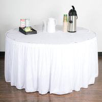 Snap Drape 5412EG29S3-010 Wyndham 17' 6 inch x 29 inch White Shirred Pleat Table Skirt with Velcro® Clips