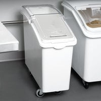 Continental 9321 21 Gallon / 335 Cup White Slant Top Mobile Ingredient Storage Bin with Sliding / Flip Lid