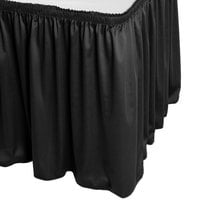 Snap Drape 5412EG29S3-014 Wyndham 17' 6 inch x 29 inch Black Shirred Pleat Table Skirt with Velcro® Clips