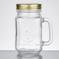 Acopa 16 oz. County Fair Mason Jar / Drinking Jar with Handle and Gold Metal Lid - 12/Case