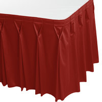 Snap Drape 5412CE29W3-750 Wyndham 13' x 29 inch Terra Cotta Bow Tie Pleat Table Skirt with Velcro® Clips