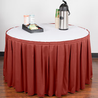 Snap Drape 5412CE29B3-750 Wyndham 13' x 29 inch Terra Cotta Box Pleat Table Skirt with Velcro® Clips