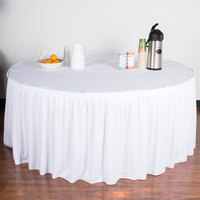 Snap Drape 5412GC29S3-010 Wyndham 21' 6 inch x 29 inch White Shirred Pleat Table Skirt with Velcro® Clips