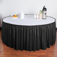 Snap Drape 5412GC29S3-0144 Wyndham 21' 6 inch x 29 inch Black Shirred Pleat Table Skirt with Velcro® Clips