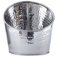 American Metalcraft HMSR8 Hammered Stainless Steel Angled Beverage Tub - 8 inch x 9 1/2 inch