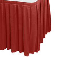 Snap Drape 5412EG29B3-750 Wyndham 17' 6 inch x 29 inch Terra Cotta Box Pleat Table Skirt with Velcro® Clips