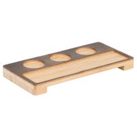 American Metalcraft BWF3 Carbonized Bamboo Three Compartment Paring Flight Board - 13 7/8 inch x 6 7/8 inch x 1 1/4 inch