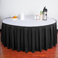 Snap Drape 5412GC29B3-014 Wyndham 21' 6 inch x 29 inch Black Box Pleat Table Skirt with Velcro® Clips