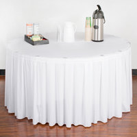 Snap Drape 5412EG29B3-010 Wyndham 17' 6 inch x 29 inch White Box Pleat Table Skirt with Velcro® Clips