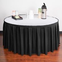 Snap Drape 5412EG29B3-0144 Wyndham 17' 6 inch x 29 inch Black Box Pleat Table Skirt with Velcro® Clips
