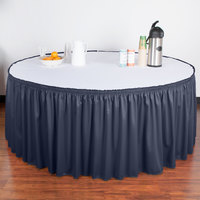 Snap Drape 5412GC29S3-011 Wyndham 21' 6 inch x 29 inch Navy Shirred Pleat Table Skirt with Velcro® Clips