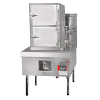 Town YF-STMR-SS-N Natural Gas Two Compartment Fired Steamer Range with Right Door Hinges - 116,000 BTU