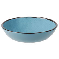 Elite Global Solutions DB8225M Mojave Vintage California 32 oz. Cameo Blue Round Crackle Bowl   - 6/Case