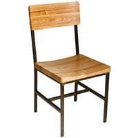 BFM Seating JS33CNTW-RU Memphis Distressed Rustic Clear Coated Steel Side Chair with Natural Ash Wooden Back and Seat