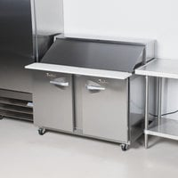 Traulsen UPT488-LR 48 inch 1 Left Hinged 1 Right Hinged Door Refrigerated Sandwich Prep Table