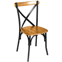 BFM Seating JS88CNTW-SB Henry Sand Black Steel Side Chair with Natural Ash Wooden Back and Seat