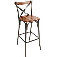 BFM Seating JS88BASH-RU Henry Distressed Rustic Clear Coated Steel Bar Height Chair with Autumn Ash Wooden Back and Seat