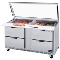 Beverage-Air SPED60HC-24M-4-STL 60 inch 4 Drawer Mega Top Refrigerated Sandwich Prep Table with Glass Lid