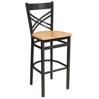 BFM Seating 2130BNTW-SB Akrin Sand Black Steel Bar Height Chair with Cross Steel Back and Natural Ash Wooden Seat