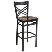 BFM Seating 2130BWAW-SB Akrin Sand Black Steel Bar Height Chair with Cross Steel Back and Walnut Wooden Seat