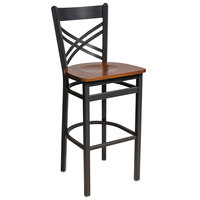 BFM Seating 2130BCHW-SB Akrin Sand Black Steel Bar Height Chair with Cross Steel Back and Cherry Wooden Seat