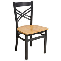 BFM Seating 2130CNTW-SB Akrin Sand Black Steel Side Chair with Cross Steel Back and Natural Ash Wooden Seat