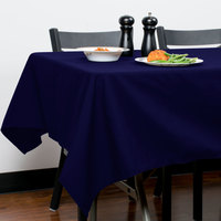 Intedge 54 inch x 120 inch Rectangular Navy Hemmed Polyspun Cloth Table Cover