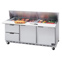 Beverage-Air SPED72HC-08-2 72 inch 2 Door 2 Drawer Refrigerated Sandwich Prep Table