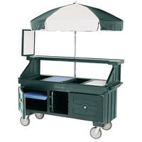 Cambro CVC72519 Camcruiser Green Vending Cart with Umbrella and 3 Counter Wells