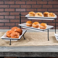 American Metalcraft TTMEL3 Ironworks Three-Tier Foldable Rectangular Display Stand with Melamine Platters