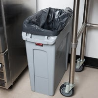 Rubbermaid 1971258 Gray 64 Qt. / 16 Gallon Slim Jim Rectangular Trash Can