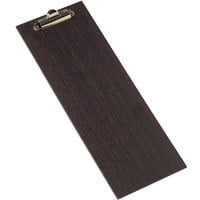 American Metalcraft CB4 4 1/2 inch x 12 1/2 inch Espresso Wood Clipboard Menu Holder